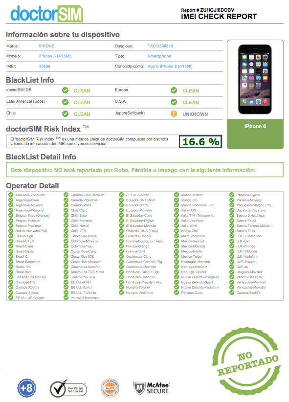 Full Reporte IMEI Checks Example